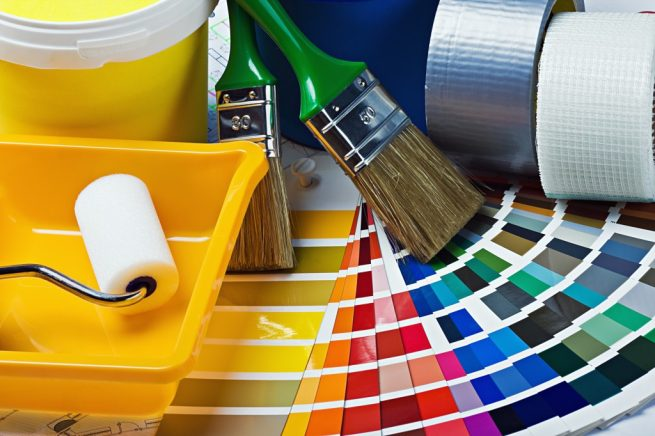 инструменти за боядисване на стена